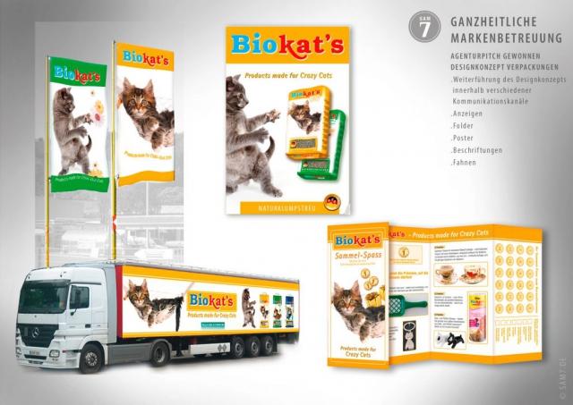 Designkonzept Biokats. Werbemittel.