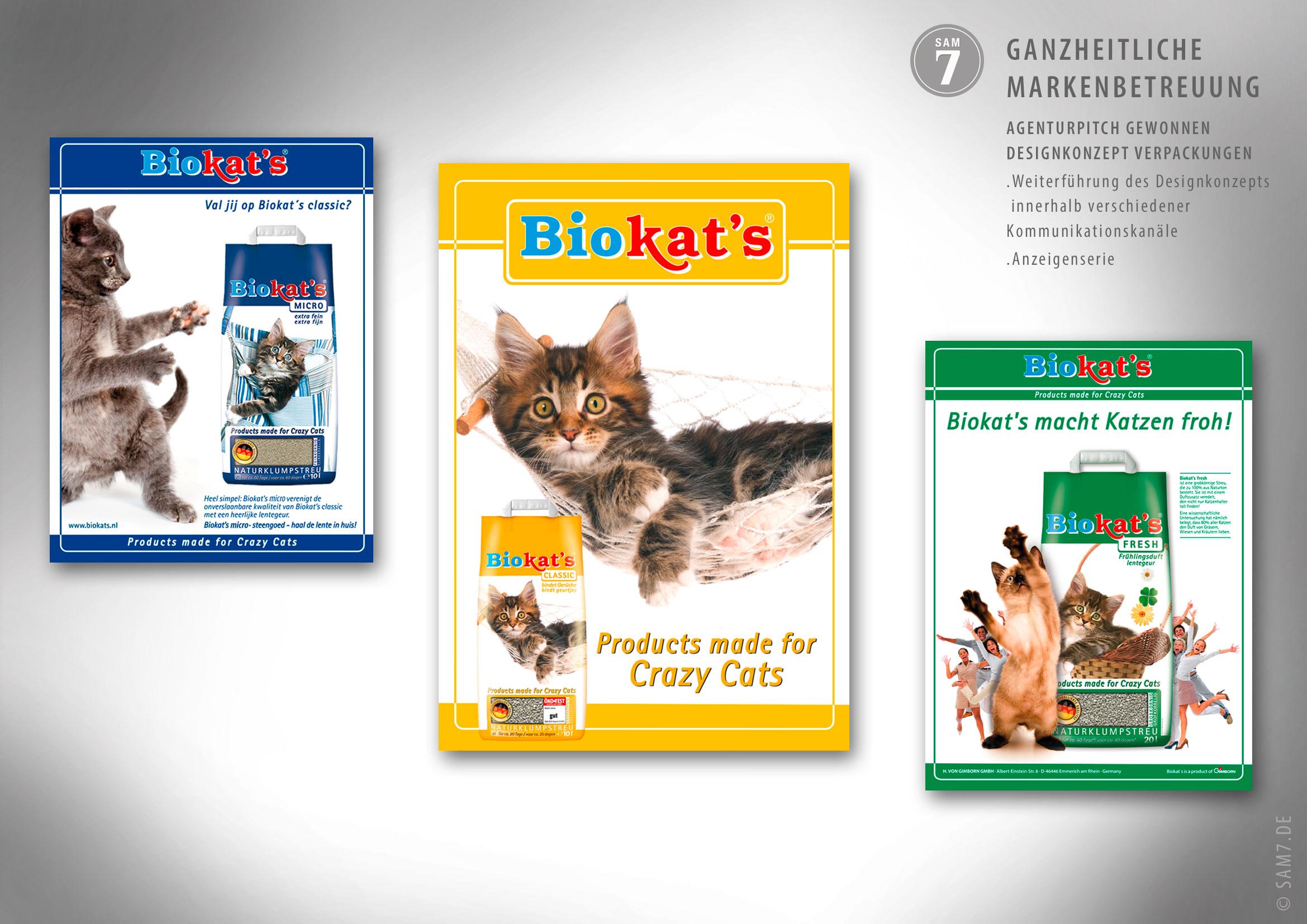 Designkonzept Biokats. Anzeigenserie.