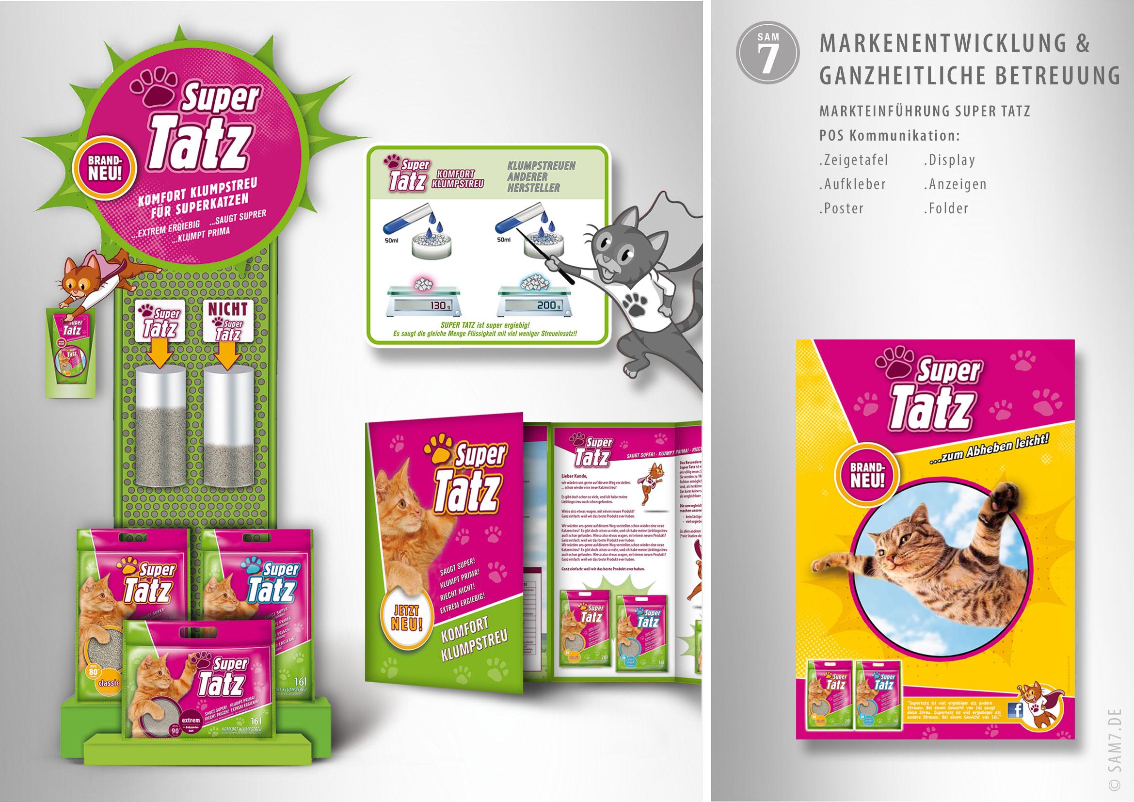 Display und Werbemittel für SuperTatz.