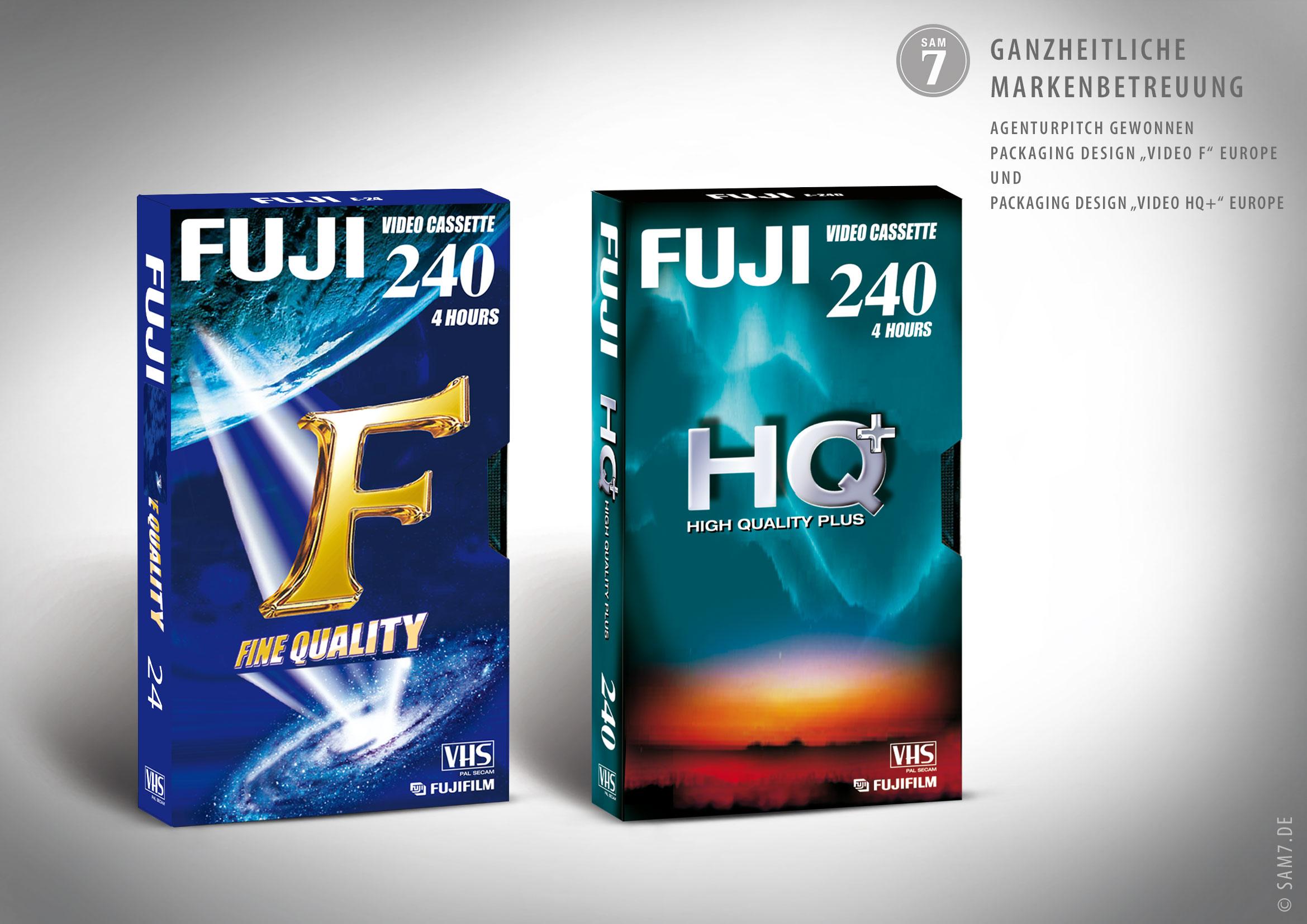 Verpackungsdesin. Fuji Video F und HQ+.