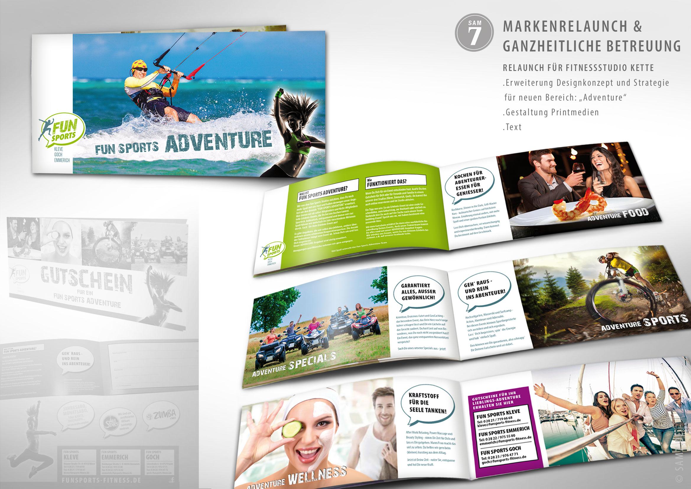 Design Konzept FS Fitness. Print Media Design. Bereich Adventure.
