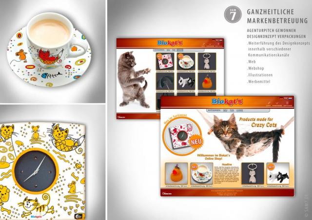 Designkonzept Biokats. Werbemittel. Web-Shop.