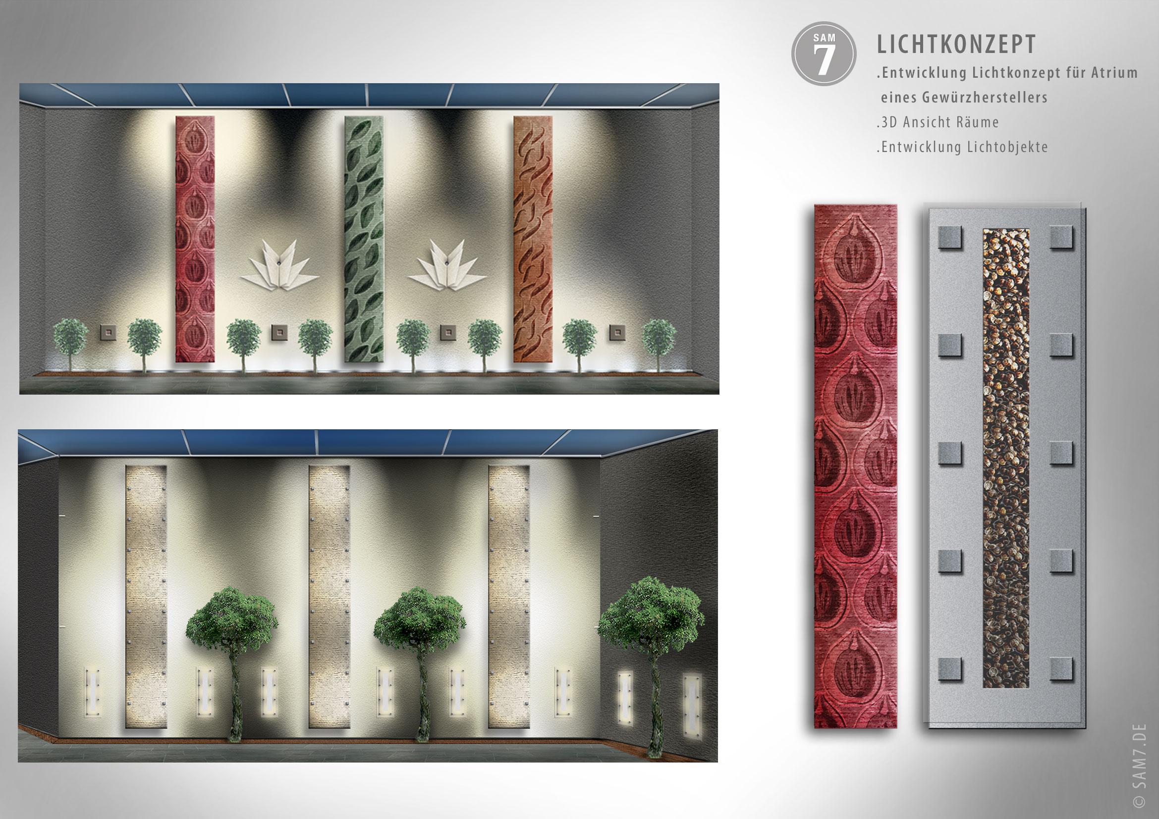 Lichtkonzept. Interior Design Atrium.