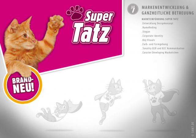 Logoentwicklung. SuperTatz Logo.