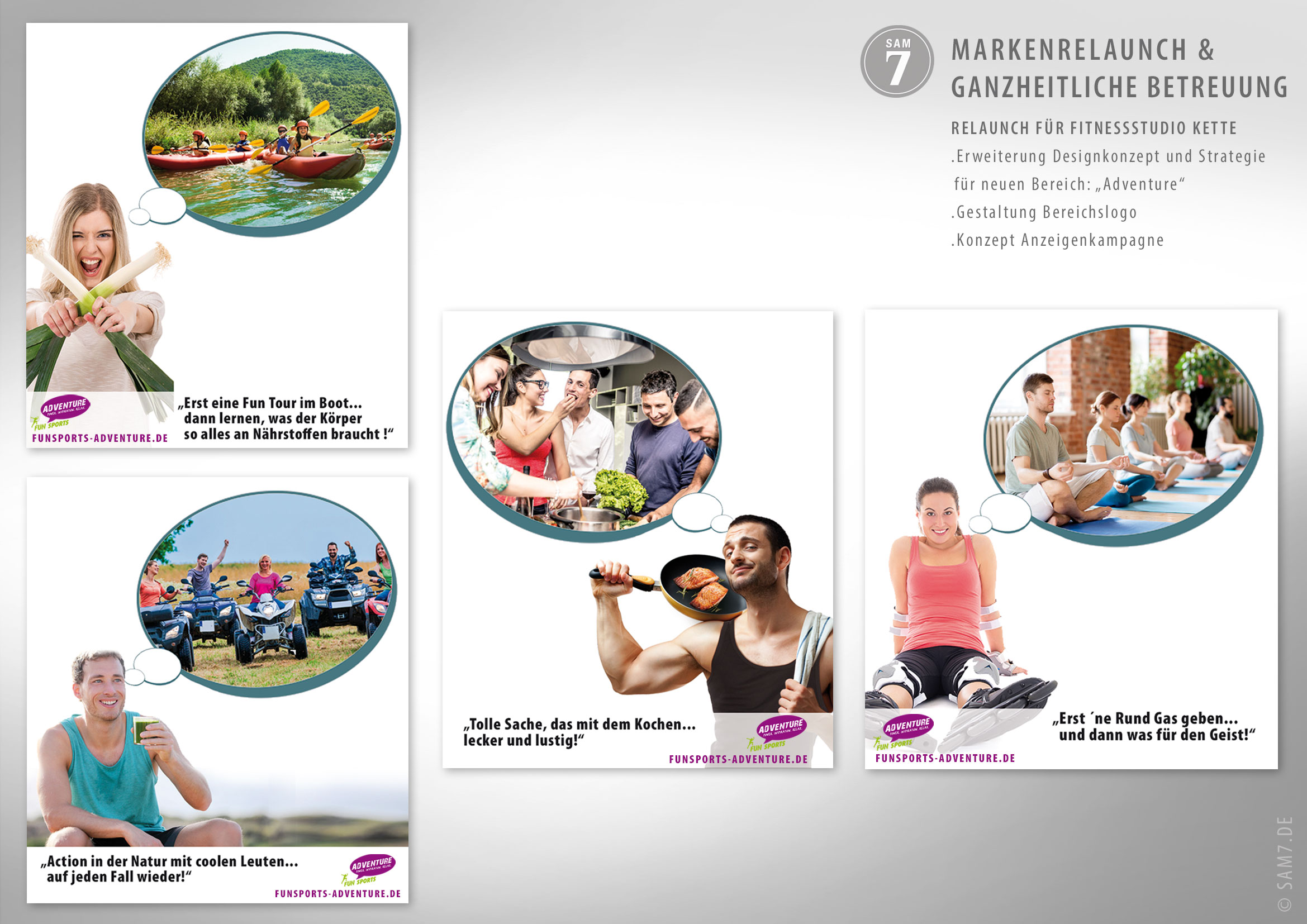 Design Konzept FS Fitness. Advertising. Anzeigenserie Adventure.