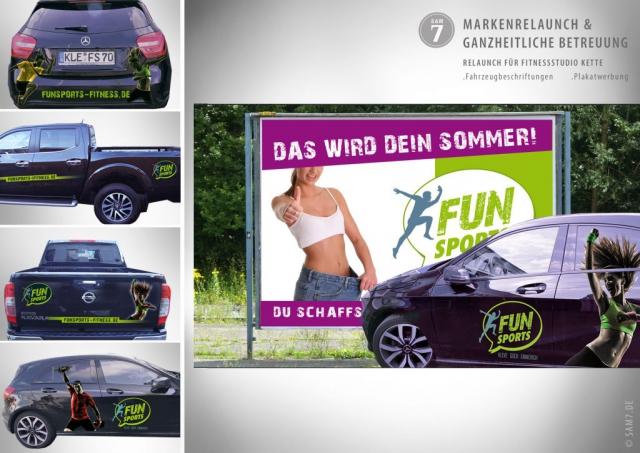 Designkonzept FS Fitness Studio. Fahrzeugbeschriftung.